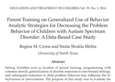 Effective Parent Training Research Article